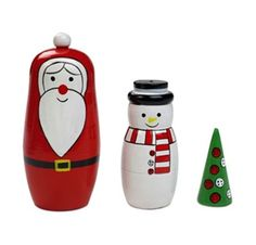 TRIOMAS: 3 pieces Christmas matryoshka doll made in wood, composed of a pine tree, a snowman and a Santa  #christmas #wooden #matryoshka Find us on facebook at https://www.facebook.com/JNLondon