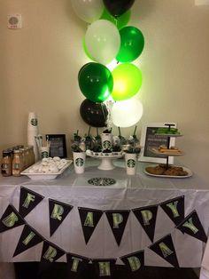 Winter Birthday, Dad Birthday, Birthday Ideas, Birthday Parties, Coffee Themed Party, Starbucks Birthday Party, Party Themes, Party Ideas, Dads
