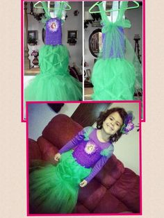 Ariel Inspired Tutu Dress With matching headband by mapymorales, $28.00