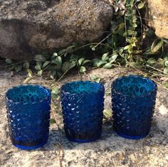 Vintage Set of Three, Cobalt Blue Glass Votives, Coastal/Cottage Decor, Shabby Chic, Bohemian, Wedding/Party Decor