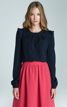 Navy Blue Blouse With Thrill Shoulders - SilkFred