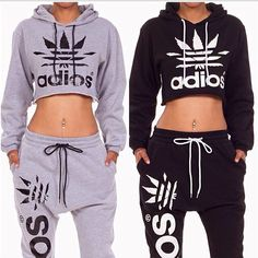 adidas outfits. grey and black weed adios cropped sweat shirts pant ♕ adidas outfits
