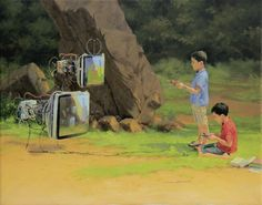 _Play again_ - 81x65 cm#F351.jpg - Painting,  81x65 cm ©2013 par Abdelaziz CHARKAOUI -  Peinture