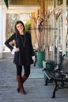 How adorable is this cute sweater tunic with the lace bell sleeves?? We have different colors of them as well! Call 601.591.4111 to order! Open until 6pm!