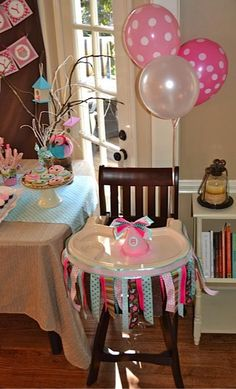 love the ribbon idea for the high chair vs. maybe a tutu