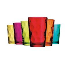 6 Piece Eclipse Glass Set // welcome to my current obsession with coloured glassware. why? they are so practical - every guest picks a colour and no one forgets which glass belongs to who! #productdesign #designinspiration