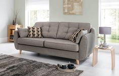Stunning Iconic mid century sofas styled with retro Scandi contemporary influence. Fabric & leather designer sofas at low sofa outlet prices. Sofa Design, Interior Design, Living Room Sofa, Living Room Decor, Grey 3 Seater Sofa, Cheap Couch, Sofa Deals, Best Leather Sofa, Retro Sofa