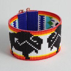 Native American Buffalo Bead Loom Cuff Bracelet - Boho Bracelet - Bracelet Cuff - Tribal Bracelet - Seed Beads Bracelet - Beadweaving