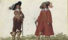 Adriaen van de Venne - Twee elegant geklede heren met pluimhoed