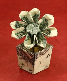 Flower in pot made from money. Such a neat idea for a kids bday!