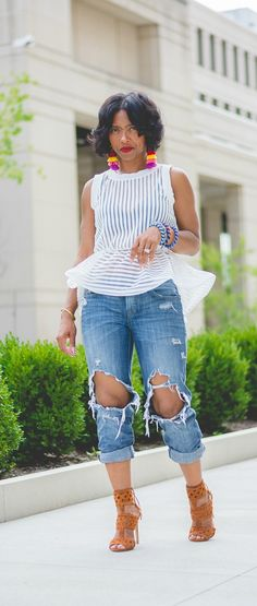 Peplum top, Distressed Jeans, Pom Earrings, Indianapolis Fashion Blog, Sweenee Style