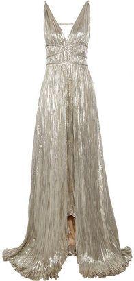 ShopStyle: Oscar de la Renta Pleated lamé gown