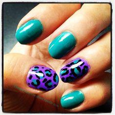 """""""Lisa Frank"""" Nails purple and teal nails cheetah nails"""