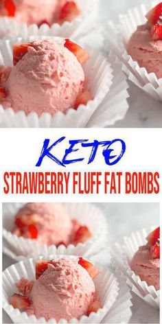 5 ingredient low carb strawberry fat bomb everyone loves. Mix up a few ingredients for this NO BAKE keto recipes - light, fluffy strawberry fat bombs. A low carb dessert tasty & delish. Keto Desserts, Keto Dessert Easy, Keto Snacks, Easy Desserts, Dessert Recipes, Breakfast Recipes, Diet Breakfast, Ketogenic Recipes, Ketogenic Diet