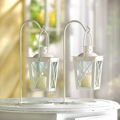 Railroad Candle Lanterns in White