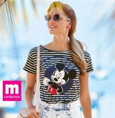 Blusa feminina listrada Mickey Turma da Disney