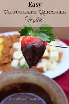 Chocolate Caramel Fondue - Valentine's Day tradition.