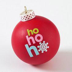 Santa's Greeting Christmas Tree Ornaments. Paint Ball, Apply Stickers.