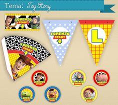 Como não amar? Este é um dos temas favoritos das crianças. Com Toy Story, a diversão é garantida.    Adquira esse lindo Kit Digital e perceba a praticidade de montar sua própria festa personalizada!  #papelaria #serendipity #festas #personalizados #toystory #cone #bandeirola #lapela #tags #toppers #convite #paraimprimir #festadigital