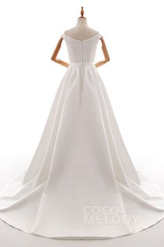 Perfect A-Line Off The Shoulder Natural Court Train Satin Ivory Sleeveless Zipper Wedding Dress with Beading and Sashes LD4837