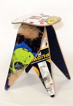 Recycled Skateboard Stool No.535 by Deckstool. by deckstool  Features an Old school Powell Peralta Ripper deck. Tory Pudwill and Polar too, among others...   So cool!!