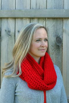 Cool Weather Infinity Scarf in Red by FountainTopCreations on Etsy