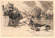 La Seine au Bas-Meudon : Le chemin de halage; à gauche la palissade d'un chantier de bois et des arbres; à droite, la rivière et l'île Seguin. Au milieu l'île dite des Mottiaux. Au premier plan, des bachots amenés sur la rive, et au bord de la rivière, des blanchisseuses. (Béraldi 187 - 4ème état sur 4). Eau forte originale de Félix Bracquemond (1833-1914). MAS Estampes Anciennes - Antique Prints since 1898