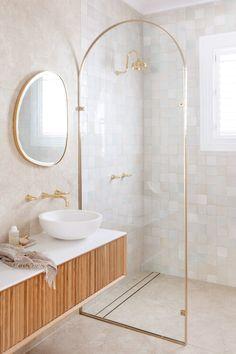 EPISODE SIX | HOUSE 13 — THREE BIRDS RENOVATIONS Bird Bathroom, Bathroom Renos, Bathroom Renovations, Peach Bathroom, Vanity Bathroom, Bathroom Basin, Bathroom Wallpaper, Remodel Bathroom, Bathroom Signs