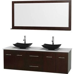 Wyndham Collection Centra 72 inch Double Bathroom Vanity in Espresso, White Man-Made Stone Countertop, Arista Black Granite Sinks, and 70 inch Mirror, Brown