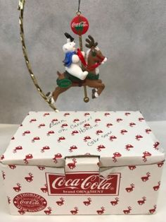 Vintage Coca Cola Polar Bear Collection Carousel Horse Christmas Ornament