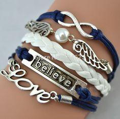 Leather bracelet double wings love belive Infinity leather Music mix  Leather Bracelet Charm Wristbands SET L065 #Affiliate