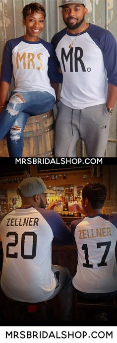 LOVE these shirts for the #honeymoon and after! MR & MRS Baseball Tees Set, $64.95. Click here to buy https://mrsbridalshop.com/collections/couples/products/mr-mrs-gold-baseball-tees-custom-names-numbers-pick-color