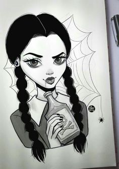 An Wednesday Addams ♥♥ Arte Horror, Horror Art, Horror Drawing, Halloween Drawings, Halloween Crafts, Halloween Witches, Happy Halloween, Halloween Decorations, Desenhos Tim Burton