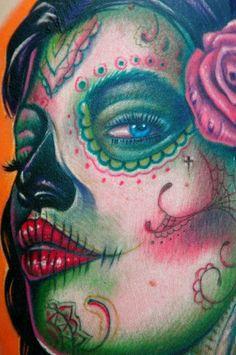 sugar skull day of the dead lady tattoo by Big Gus of Hesperia, CA