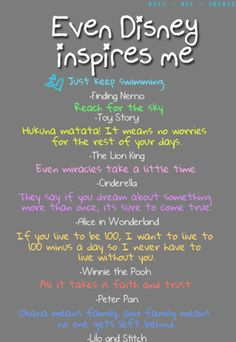Disney movie quotes; the Alice in Wonderland one makes my heart smile :)