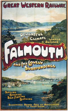 Transportation Advertising Vintage Falmouth England Gwr Railway Poster Re-Print Falmouth England, Falmouth Cornwall, Train Posters, Railway Posters, Beach Posters, British Rail, British Isles, Vintage Travel Posters, Retro Posters