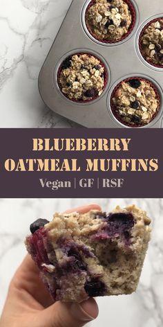 Blueberry Oatmeal Muffins, Blue Berry Muffins, Breakfast Muffins, Vegan Gluten Free Breakfast, Plant Based Breakfast, Breakfast Healthy, Vegan Sweets, Healthy Desserts, Healthy Food