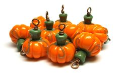 Beads By Laura: Lampwork glass 'Pumpkins' beads by Laura Sparling