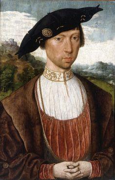 Painting by Jan Mostaert (1475-1555-6), Portrait de Joost van Bronkhorst, oil on wood.  Dutch Renaissance (painter at the court of Margaret of Austria, 1519-1529)