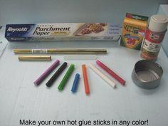 Colored hot glue sticks