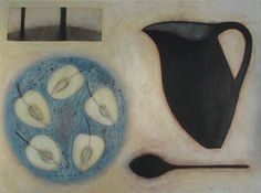 Still life with Apples on Blue Plate, (2007) by Vivienne Williams