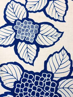 Vintage Japanese yukata cotton fabric panel Indigo Hydrangea
