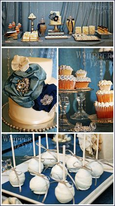 dark teal metallic wedding tables blue champagne - Google Search