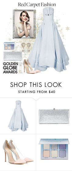 """Golden Globes - Sarah Paulson"" by the-vintage-palace2016 ❤ liked on Polyvore featuring Maticevski, Jimmy Choo, Gianvito Rossi, Anastasia Beverly Hills, Dolce&Gabbana and Polaroid"
