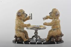 Dogs Playing Cards on Table Faberge Styled Trinket Box by Keren Kopal Handmade with Swarovski Crystals Silver Plated Yellow Enamel Painted