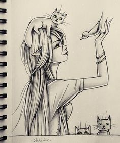 Bird among cats by natalico on deviantart beautiful drawings, cool drawings, amazing drawings, Pencil Art Drawings, Art Drawings Sketches, Sketch Art, Cute Drawings, Bird Sketch, Hard Drawings, Cute Girl Drawing, Animal Drawings, Amazing Drawings