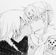Maka x Soul - Soul Eater. (Everyones fan art makes it look like Maka would make the first move, or it's already a mutual attraction. This is how it would really happen. Maka wouldn't realize her true feelings for Soul until he made the first move. She doesn't know how much he cares for her, even though it's obvious. Love, love, love this.