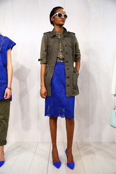 love the blue and army green combo - not the cargo for work but you could wear it on the weekends