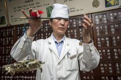 A pharmacist prepares medicine in a traditional Chinese medicine hospital. This medicine has a history of several thousands of years in China, and huge amount of Chinese people still take these medicines.