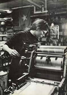 Kathy Mulvihill operating Liberation News Service press, photograph by Anne Dockery, Framed Wall Art, Wall Art Prints, Images Of Peace, Printing Press, Offset Printing, Letterpress Printing, Typography Inspiration, Linocut Prints, Vintage Prints